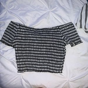 off the shoulder checkered crop top